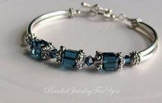 Antiqued Pewter Montana Blue Swarovski Crystal Bridesmaid Bangle Bracelet
