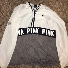 Vs rain jacket/wind breaker White and Grey VA rain jacket/ wind breaker.. Worn twice PINK Victoria's Secret Jackets & Coats Utility Jackets