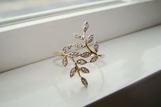leaf engagement ring gold - Google Search