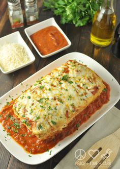 Stuffed Chicken Parmesan Meatloaf, Low Carb, Gluten Free