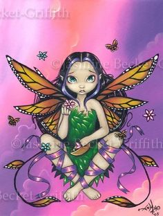 Butterfly Art Prints Archives - Page 4 of 7 - Strangeling: The Art of Jasmine Becket-Griffith Animal Art Prints, Fine Art Prints, Fairy Pictures, Fairy Figurines, Gothic Fairy, Baby Fairy, Beautiful Fairies, Butterfly Flowers, Eye Art