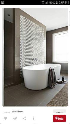 Aspire Home. Ensuite with walk through shower, freestanding bath and stone mosaic. - Amazing Homes Interior Bathroom Renos, Bathroom Interior, Modern Bathroom, Master Bathroom, Bathroom Bath, Bath Room, Bath Tub, Small Bathrooms, Bathroom Feature Wall Tile