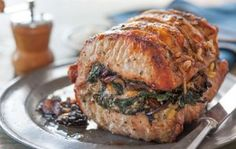Roasted Pork Loin Stuffed with Baby Spinach, Mushrooms and Pine Nuts