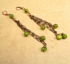 Jade and Copper Chain Asymmetric Earrings by PreciousReikiGems