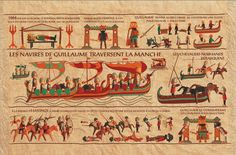 Playmobil's in the Beaux Tapestry.  The middle registry reads The Ships of William cross the Channel.