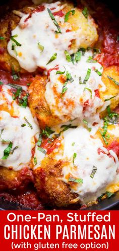 Mouth Watering Good! This Stuffed Chicken Parmesan is crisp on the outside and so juicy with a surprise inside. This is an easy, one-pan, 30 minute parmesan chicken dinner you'll make over and over! | natashaskitchen.com