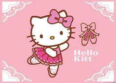 Fotomural Hello Kitty FTM 0855, imagen de la Hello Kitty haciendo ballet con todo el equipamiento necesario. El color predominantes es el rosa.