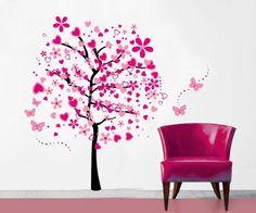 Pink Heart Shape Flower Tree Vinyl Removable Wall Decal Wall Sticker Wall Mural