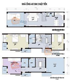 Mặt bằng thiết kế nhà lô phố đẹp 3 tầng 60m2, nhà đẹp 3 tầng, nhà chia lô đẹp