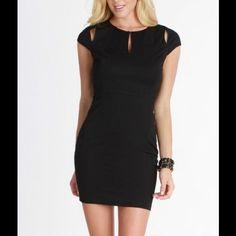 Black Keyhole Cutout Detail Dress