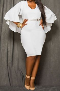 Sheath Knee Length Cloak Dress