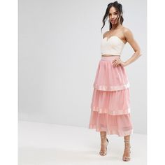 PrettyLittleThing Tiered Maxi Skirt (1,085 PHP) ❤ liked on Polyvore featuring skirts, pink, pink high waisted skirt, high waisted skirts, long chiffon skirt, maxi skirts and high-waist skirt