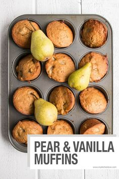 Pear and Vanilla Muffins. Perfect for Fall snacks and breakfast on the go, these muffins are sweetened with mostly fruit puree.Pear and Vanilla Muffins. Perfect for Fall snacks and breakfast on the go, these muffins are sweetened with mostly fruit puree. Pear Recipes, Muffin Recipes, Brunch Recipes, Breakfast Recipes, Pear Muffins Recipes Healthy, Recipes With Pears, Pear Dessert Recipes, Jelly Recipes, Healthy Breakfast Muffins