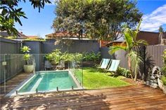 Great use of a tiny space Backyard including plunge pool, heated outdoor shower, BBQ Backyard Pool Landscaping, Backyard Water Feature, Backyard Patio Designs, Small Backyard Landscaping, Swimming Pools Backyard, Small Pool Backyard, Kleiner Pool Design, California Backyard, Small Pool Design