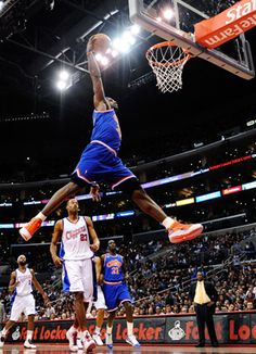 LeBron James dunking against the L.A. Clippers at the Staples Center.