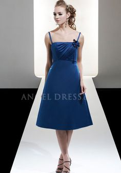 A line Satin Straps With Flowers Sleeveless Knee Length Bridesmaid Gowns