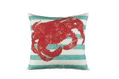 Crab and stripe throw pillow