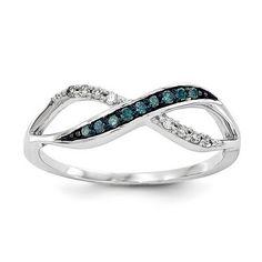 14k White Gold w/ Blue and White Diamond Ring - QGY10750AA - KevinJewelers.com