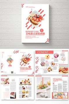 Fresh atmospheric dessert cake Brochure#pikbest#Templates #bakery #cake #brochure #typography #portfolio #layout #ideas #design #dessert Brochure Food, Brochure Layout, Menu Layout, Graphic Design Brochure, Brochure Template, Web Design, Sign Design, Catalogue Layout, Food Catalogue