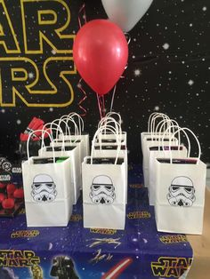 Stormtrooper goodie bags at a Star Wars party! See more party planning ideas at CatchMyParty.com!