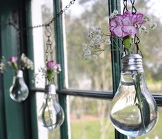 Disfruta de esta ecomanualidad decorando tu hogar con bombillas y flores.