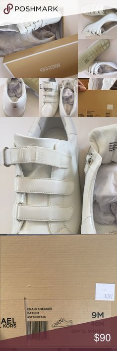 New with box MICHAEL KORS CRAIG SNEAKER WHITE New with box MICHAEL KORS CRAIG SNEAKER OPTIC WHITE SZ 9M sneakers are genuine MK. Soles are rubber and have the MK logo. Logo on heel in gold. VELCRO CLOSE Michael Kors Shoes Sneakers