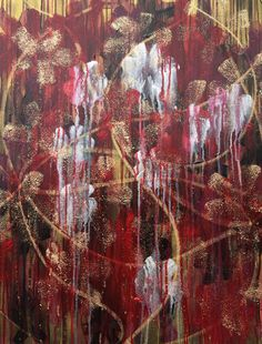 Wedelin - Abstract, Tapestry, Original, Acrylic, Painting, Layered, Flower, Red, Silver, Gold, Glitter, Contemporary, Unique, Floral, Art