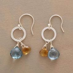 LONDON BELLS EARRINGS--Clear as a bell, London blue topaz sways in tandem with citrine briolettes. Exclusive. Handmade in USA of sterling silver