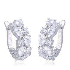 Large bridal earrings silver crystal earrings by TamarAndTalya