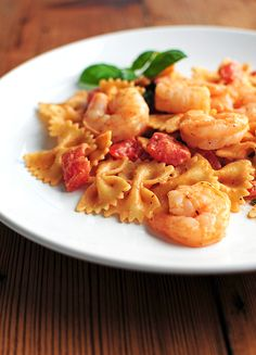 Creamy Lemon Pepper Shrimp and Pasta with Basil and Tomatoes. Try making it without the sauté express packets...
