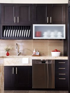 a modern organized kitchen with beautiful granite countertops and a pretty backsplash makes an enjoyable space to cook up a delicious meal