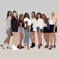 Family Illustration, Portrait Illustration, Digital Illustration, Friend Cartoon, Girl Cartoon, Black Girl Art, Art Girl, Black Art, Cartoon Kunst