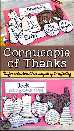 This Thanksgiving craftivity is a wonderful way to model gratitude in your classroom this November. Students will also practice direction following skills, writing, and fine motor skills as they read, write, color, cut, and paste to create their final cornucopia projects. Three levels of the craftivity are included. This makes it easy to differentiate the activity or find the level of writing support that best fits the needs of your students. Fun for a November bulletin board!