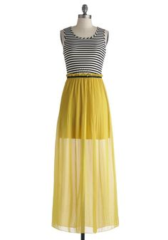 Cantina Head Turner Dress - Long, Yellow, Black, White, Stripes, Casual, Maxi, Tank top (2 thick straps), Scoop, Solid, Cutout, Beach/Resort, Twofer, Summer, Sheer