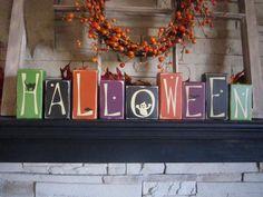 Halloween Primitive Sign Block Set by PrimitiveExpressions on Etsy,