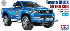 This model recreates the classic Toyota Hilux in the form of a new polycarbonate body mounted on the reliable and fun cross country chassis. Rc Cars And Trucks, New Trucks, Toyota Hilux, Toyota 4x4, Off Road Buggy, Full Size Photo, Backyard Sheds, Radio Control, Tamiya