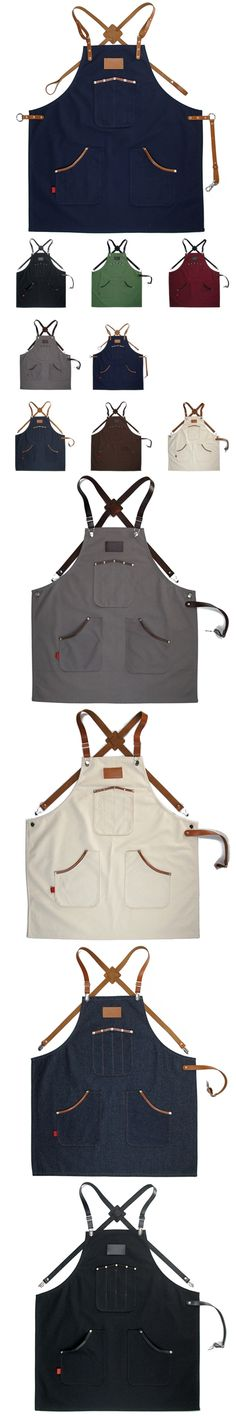 Denim Canvas Long Apron w/Back X Leather Strap Barista Bartender Baker Catering Uniform Florist Barber Stylist Work wear K45