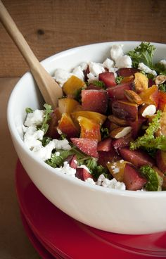 Peach, Kale and Feta Salad  www.lizclayman.com