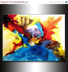 Abstract Art, Huge Abstract Painting, Original Abstract painting, Contemporary Modern Fine Art, Colorful Canvas Art, by Henry Parsinia 48x36