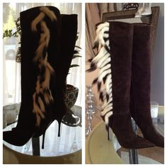 NWOD Knee High ROBERTO CAVALLI Brown Mink Boots New without box, never been worn AUTHENTIC Roberto Cavalli brown suede boots with mink tail tassels. Made in Italy. Larger scale and more photos available upon request. Roberto Cavalli Shoes