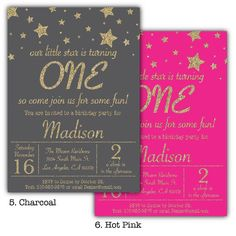 Twinkle Stars Birthday Party Invitation Gold Glitter Star