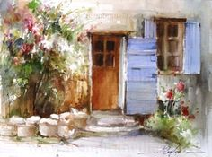 Ansouis, France, painting by artist Fabio Cembranelli #watercolor jd