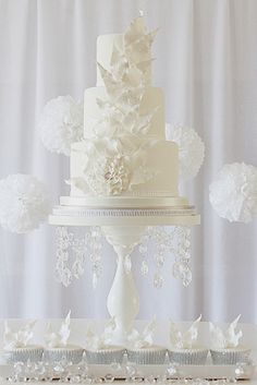This cake has a striking yet winter wonderland feel with a bit of sparkle - Rachell's Beautiful Bespoke Cakes