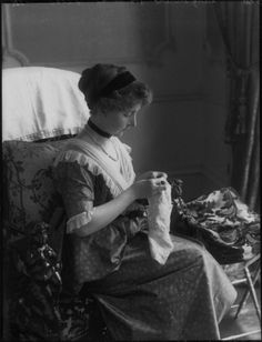 Antique photo ~ Woman sewing