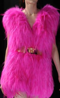 Versace - Haute Couture S/S hot pink feathers dress clothes - I would not be able to wear because I would be laughing so hard...... feather tickle u know ..... LOL