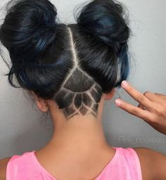 Twist or Alien buns with undercut hairstyle