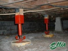 Screw Jacks In Crawl Space Ellis Manufacturing Sj 4 - Woodsupply Foundation Repair, House Foundation, Home Renovation, Home Remodeling, Home Improvement Projects, Home Projects, Building A Deck, Home Repairs, Round Mirrors