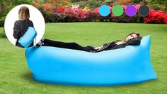 Buy Self-Inflatable Lounger - 4 Colours, 1 or 2! UK deal for just: £17.99 Sink into cloud 9 with the Portable Inflatable Lounger Choose from blue, black, green, or purple colours Easy to set up, simply carry, roll out and swoop to fill with air - No pump needed. Close the clasps to trap the air - sit and relax Packs into a handy bag for easy travel and storage ...