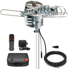 InstallerParts Snap On Amplified Outdoor HDTV Antenna -- 150 Miles Long Range -- Motorized 360 Degree Rotation -- Wireless Remote Control - List for Home and Garden Products Best Outdoor Tv Antenna, Diy Tv Antenna, Long Range Tv Antenna, Travel Trailer Floor Plans, Electrical Circuit Diagram, Line Tv, Television Antenna, Digital Tv, Ham Radio