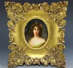 """KPM HAND PAINTED FRAMED PLAQUE WAGNER'S PAINTING AFTER ANGELO ASTI """"LA PENSEE"""""""
